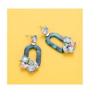 Green Resin Dangle Earrings